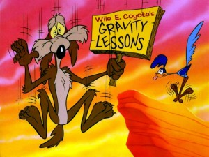 Wil E Coyote being bullied by gravity.